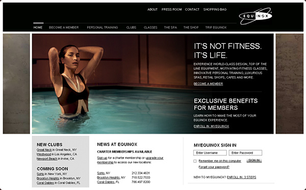 Equinox Fitness Website