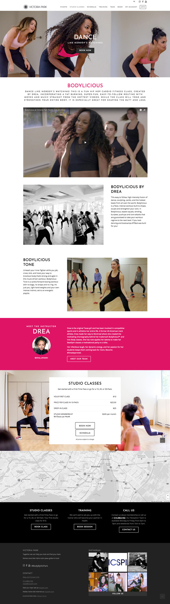 Fitness Website Design: Victoria Park Fitness