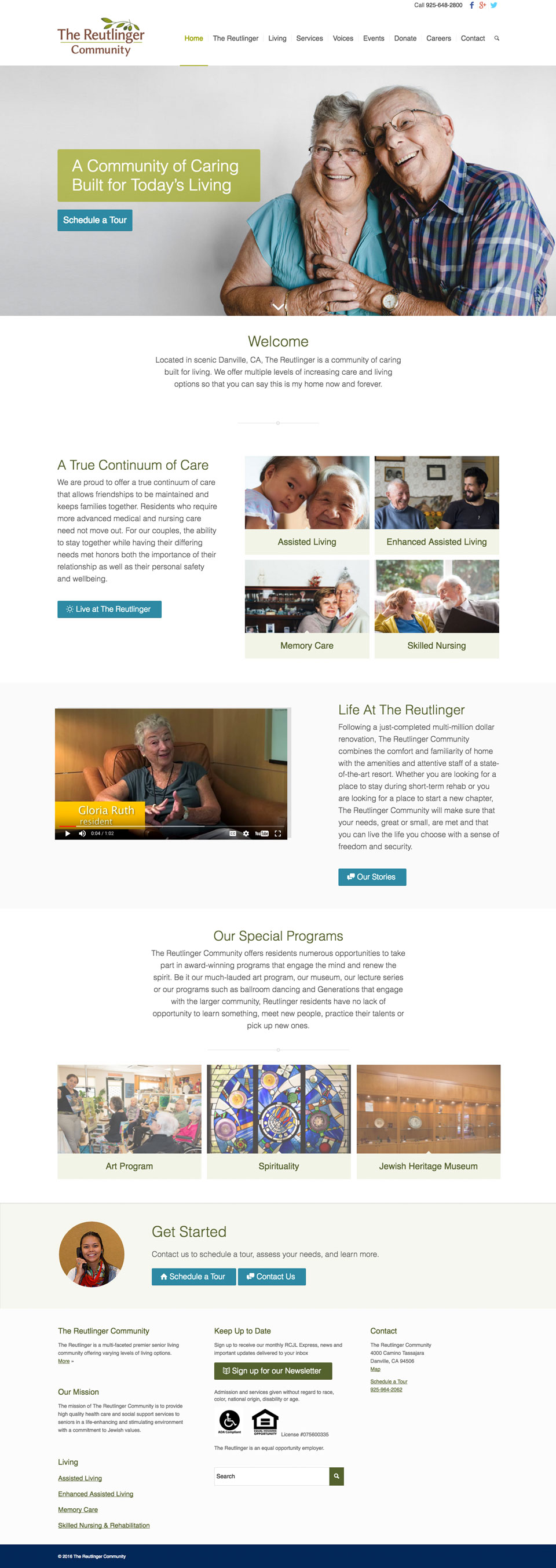 Senior Living Community Website Design: Reutlinger